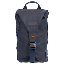 Buy Barbour Wax Cotton Zip Front Backpack, Navy Online at johnlewis.com