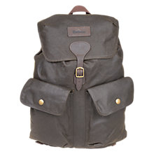 Buy Barbour Wax Cotton Beaufort Backpack, Olive Online at johnlewis.com