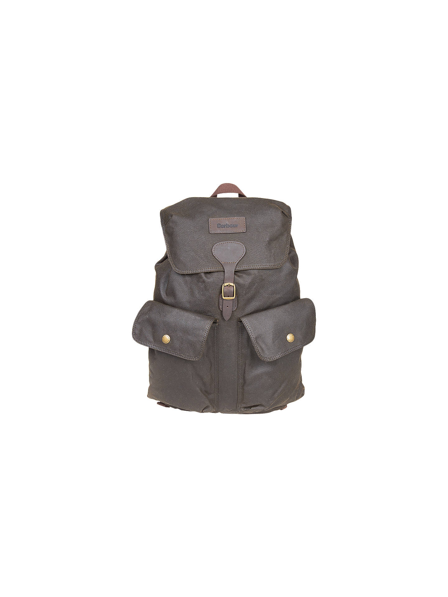 BuyBarbour Wax Cotton Beaufort Backpack, Olive Online at johnlewis.com