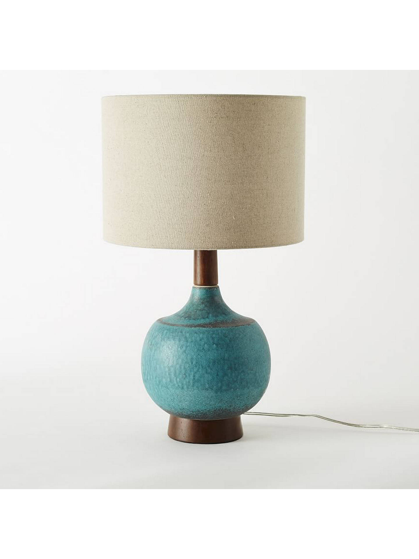 Buywest elm modernist table lamp turquoise online at johnlewis com