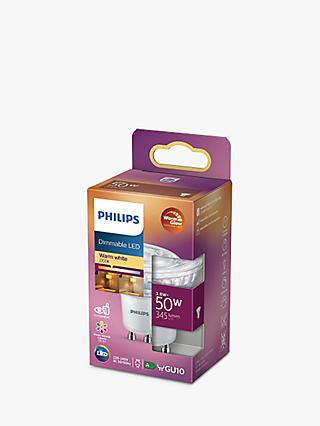 Philips 5.5W LED Warm Glow GU10 Dimmable Light Bulb