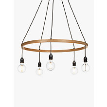 Buy Tom Raffield Kern Hoop Pendant Ceiling Light, 5 Light, Wood, 80cm Online at johnlewis.com