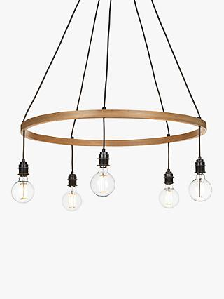 Tom Raffield Kern Hoop Pendant Ceiling Light, 5 Light, Wood, 80cm