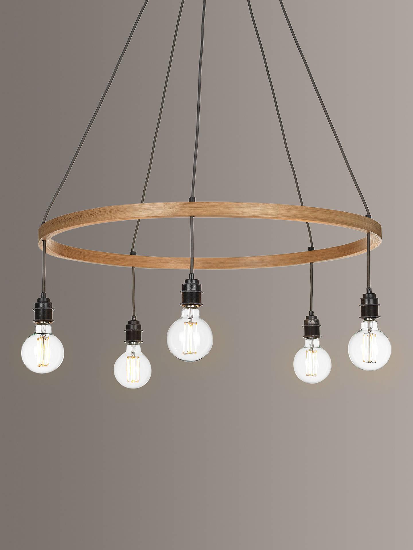 pretty nice d91fd 692e6 Tom Raffield Kern Hoop Pendant Ceiling Light, 5 Light, Wood, 80cm