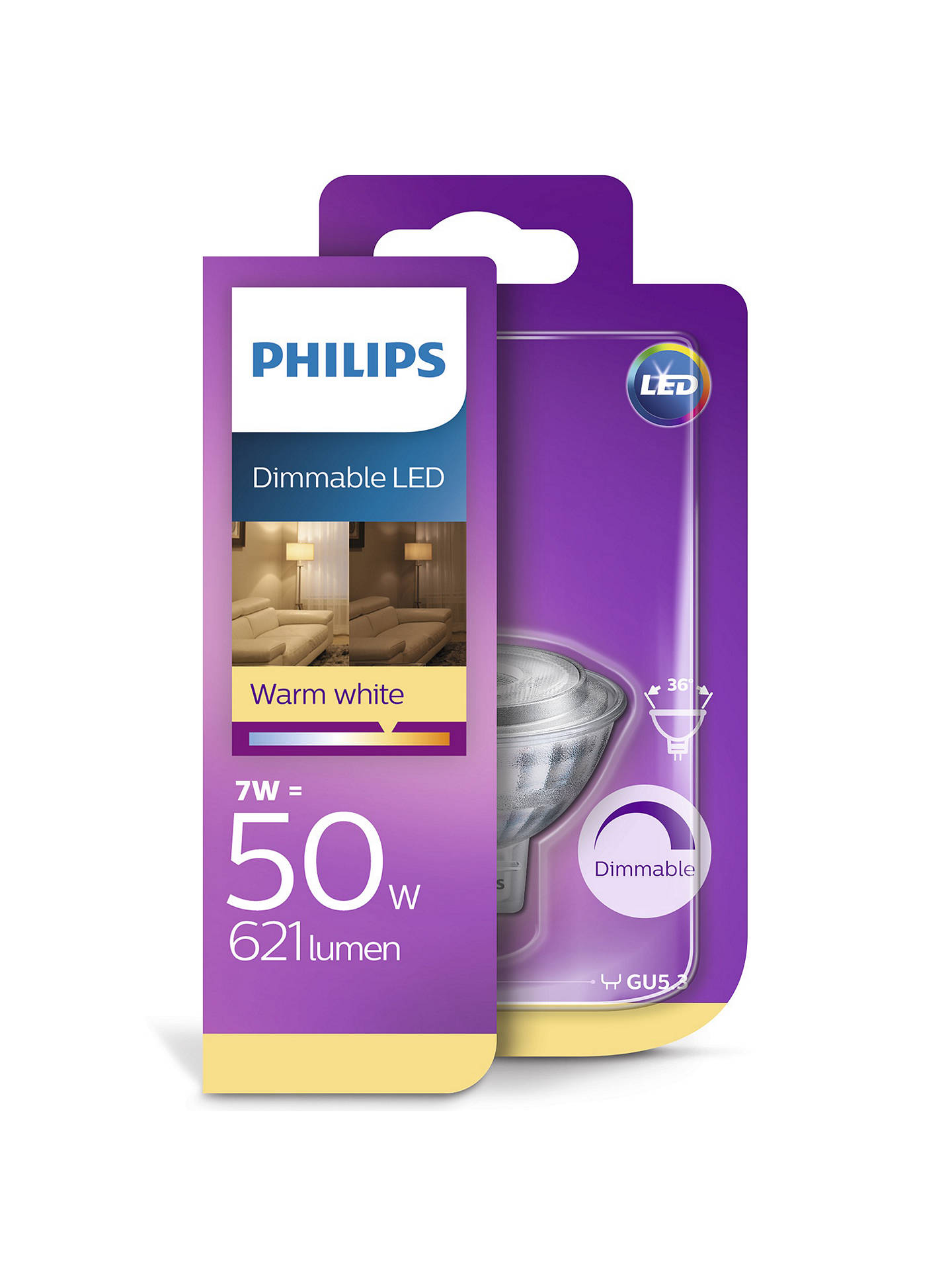 Buy Philips LED 8.W MR16 Spotlight Bulb, Dimmable Online at johnlewis.com