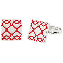 Buy Simon Carter for John Lewis Silver Plated Square Embossed Cufflinks, Red Online at johnlewis.com