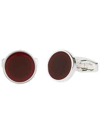 Buy Simon Carter for John Lewis Silver Plated Round Enamel Cufflinks, Red Online at johnlewis.com
