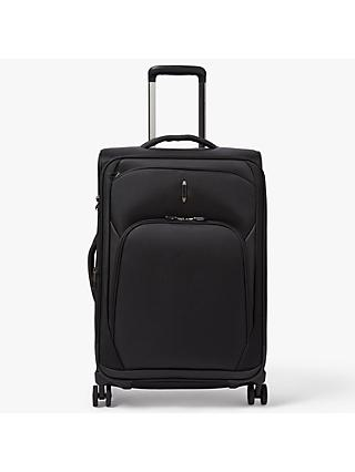 John Lewis & Partners 4-Wheel Noir Luxury 66cm Medium Suitcase, Black