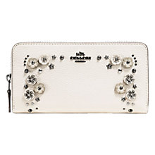 Buy Coach Accordian Willow Flower Leather Zip Purse, Chalk Online at johnlewis.com