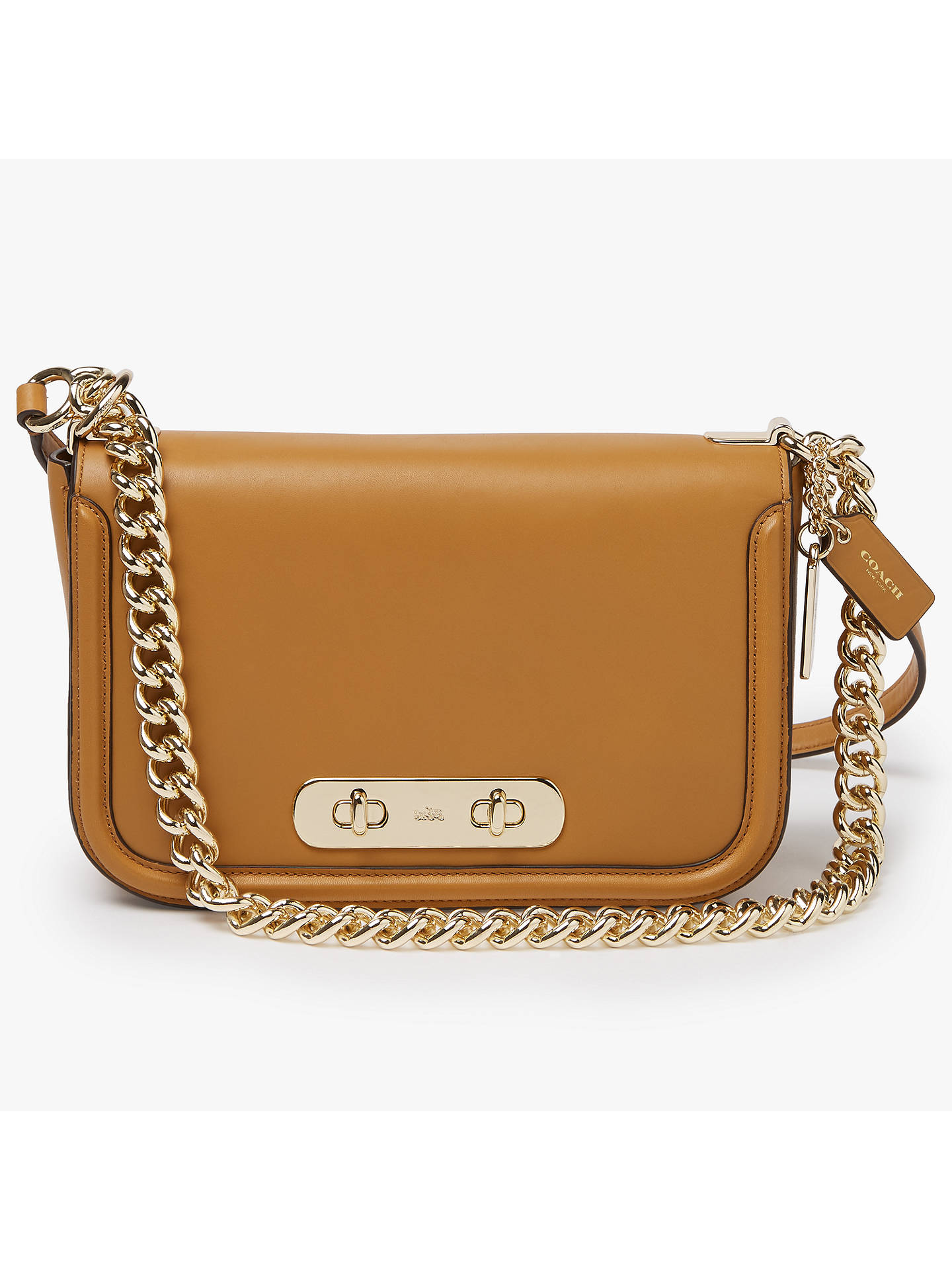 50a5b9d931 ... official buycoach swagger leather shoulder bag caramel online at  johnlewis 0a5fb 05dfa