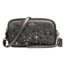 Buy Coach Star Rivets Leather Across Body Clutch Bag, Metallic Graphite Online at johnlewis.com