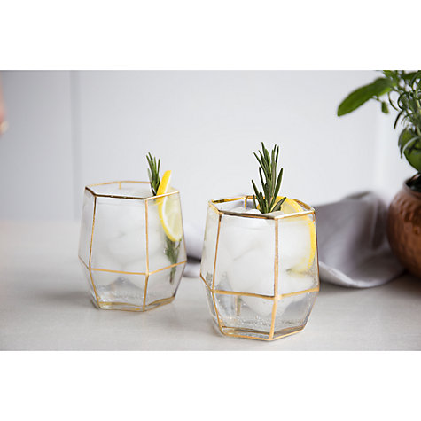 Buy Root 7 Geo Tumbler, 250ml, Clear/Gold, Set of 2 Online at johnlewis.com