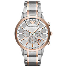 Buy Emporio Armani AR11077 Men's Chronograph Date Bracelet Strap Watch, Silver/Rose Gold Online at johnlewis.com