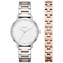 Buy DKNY NY2643 Women's The Modernist Two Tone Bracelet Strap Watch and Bangle Set, Rose Gold/Silver Online at johnlewis.com