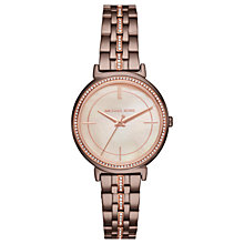 Buy Michael Kors MK3737 Women's Cinthia Pave Crystal Bracelet Strap Watch, Bronze/Rose Gold Online at johnlewis.com