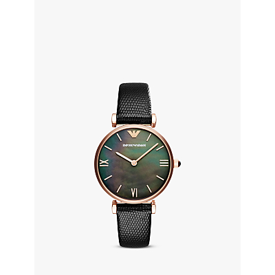 Emporio Armani AR11060 Women's Mother of Pearl Leather Strap Watch, Black/Multi