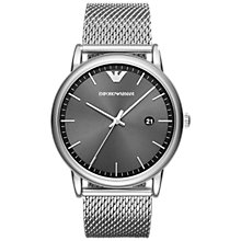 Buy Emporio Armani AR11069 Men's Date Bracelet Strap Watch, Silver/Grey Online at johnlewis.com