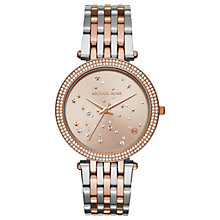 Buy Michael Kors Women's Two Tone Sparkling Night Gemstone Watch, Rose Gold/Silver Online at johnlewis.com