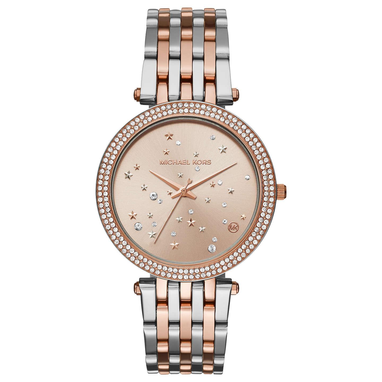 Michael Kors Mk3726 Women S Two Tone Sparkling Night Bracelet Strap Watch Rose Gold Silver