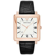 Buy Emporio Armani AR11075 Men's Date Square Leather Strap Watch, Black/White Online at johnlewis.com