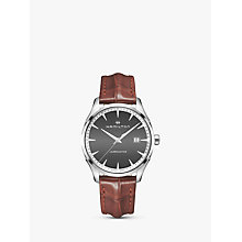 Buy Hamilton H32451581 Men's Jazzmaster Date Leather Strap Watch, Brown/Charcoal Online at johnlewis.com