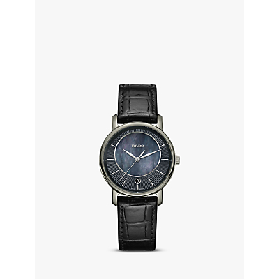 Rado R14064915 Women's Diamaster Mother of Pearl Date Leather Strap Watch, Black