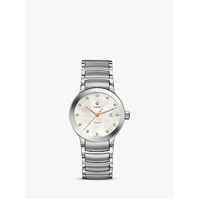 Rado R30027923 Women's Centrix Automatic Date Diamonds Bracelet Strap Watch, Silver