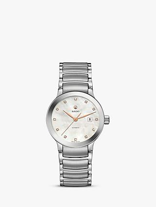 Rado R30027923 Women's Centrix Automatic Date Diamonds Bracelet Strap Watch, Silver