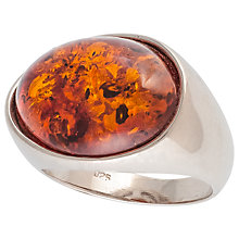 Buy Be-Jewelled Oval Amber Cocktail Ring, Cognac Online at johnlewis.com
