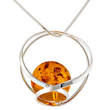 Buy Be-Jewelled  Sterling Silver Amber Ball Pendant Necklace, Cognac Online at johnlewis.com