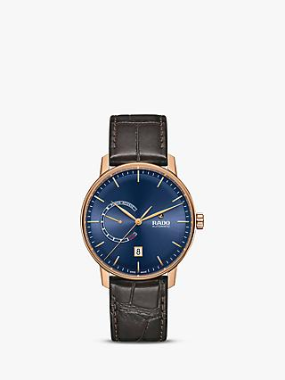 Rado R22879205 Unisex Coupole Automatic Date Leather Strap Watch, Brown/Blue
