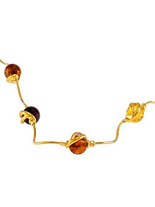 Be-Jewelled Amber Snake Chain Necklace, Gold/Multi