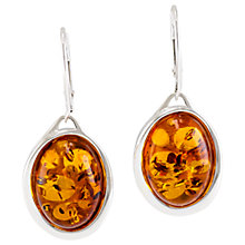 Buy Be-Jewelled Oval Amber Drop Earrings, Cognac Online at johnlewis.com