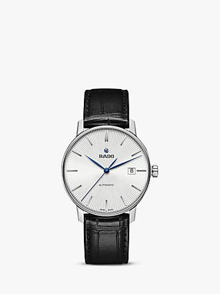 Rado R22860045 Unisex Coupole Classic Automatic Date Leather Strap Watch, Black/Silver