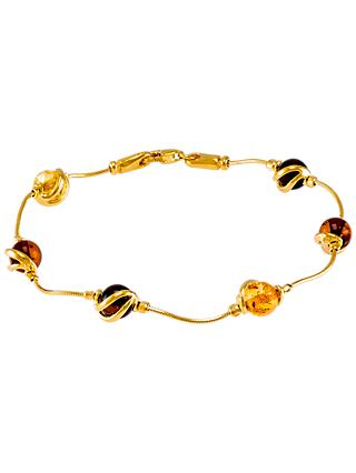 Be-Jewelled Cabochon Amber Snake Chain Bracelet, Multi