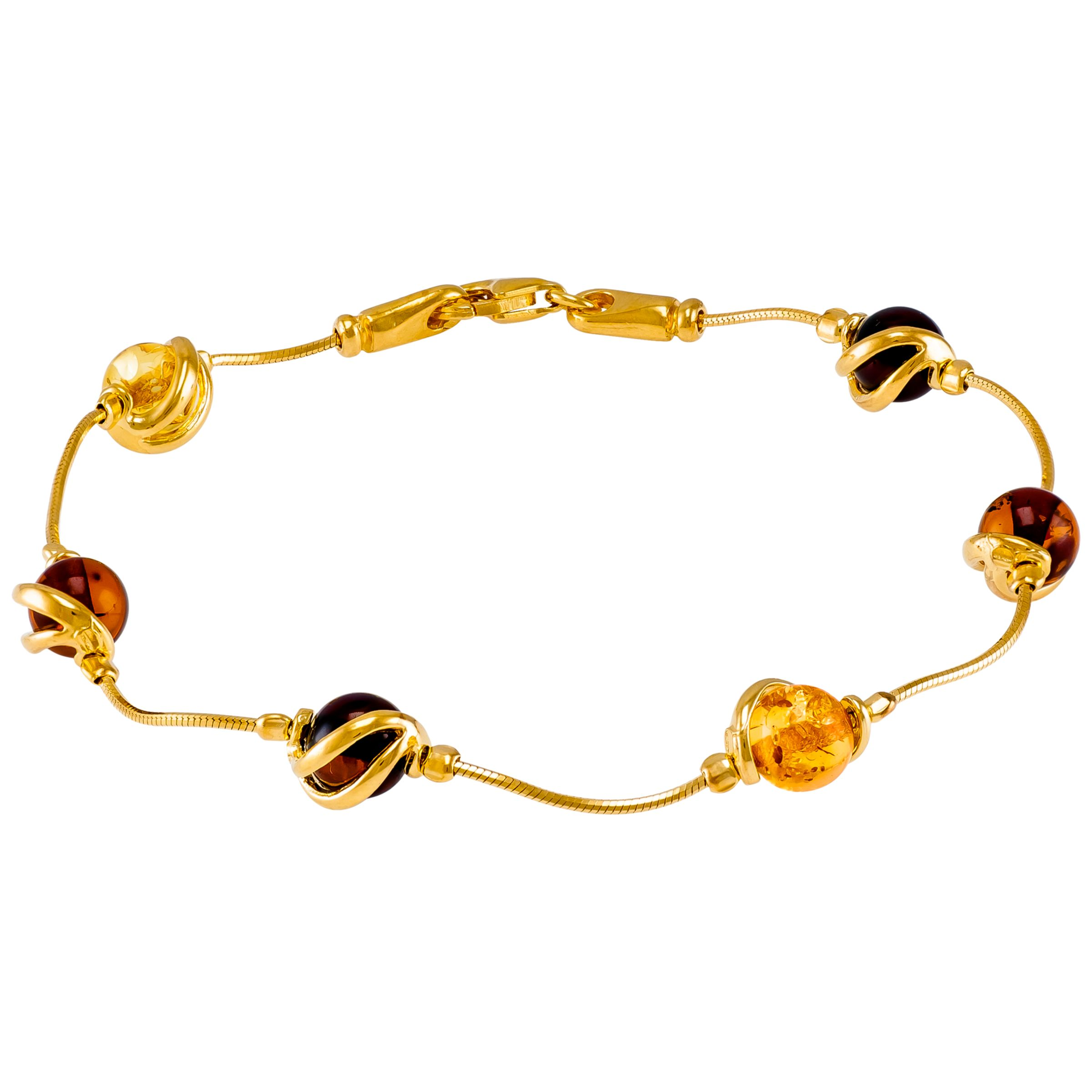 Be-Jewelled Be-Jewelled Cabochon Amber Snake Chain Bracelet, Multi