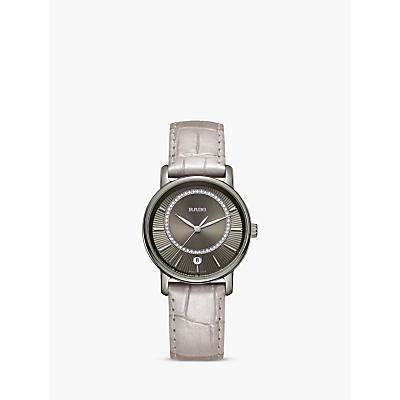 Rado R14064715 Women's Diamaster Diamond Date Leather Strap Watch, Cream/Steel