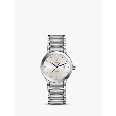 Rado R30027733 Women's Centrix Automatic Diamond Date Bracelet Strap Watch, Silver/White