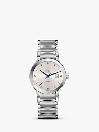 Rado R30027733 Women's Centrix Automatic Diamond Date Bracelet Strap Watch, Silver/White