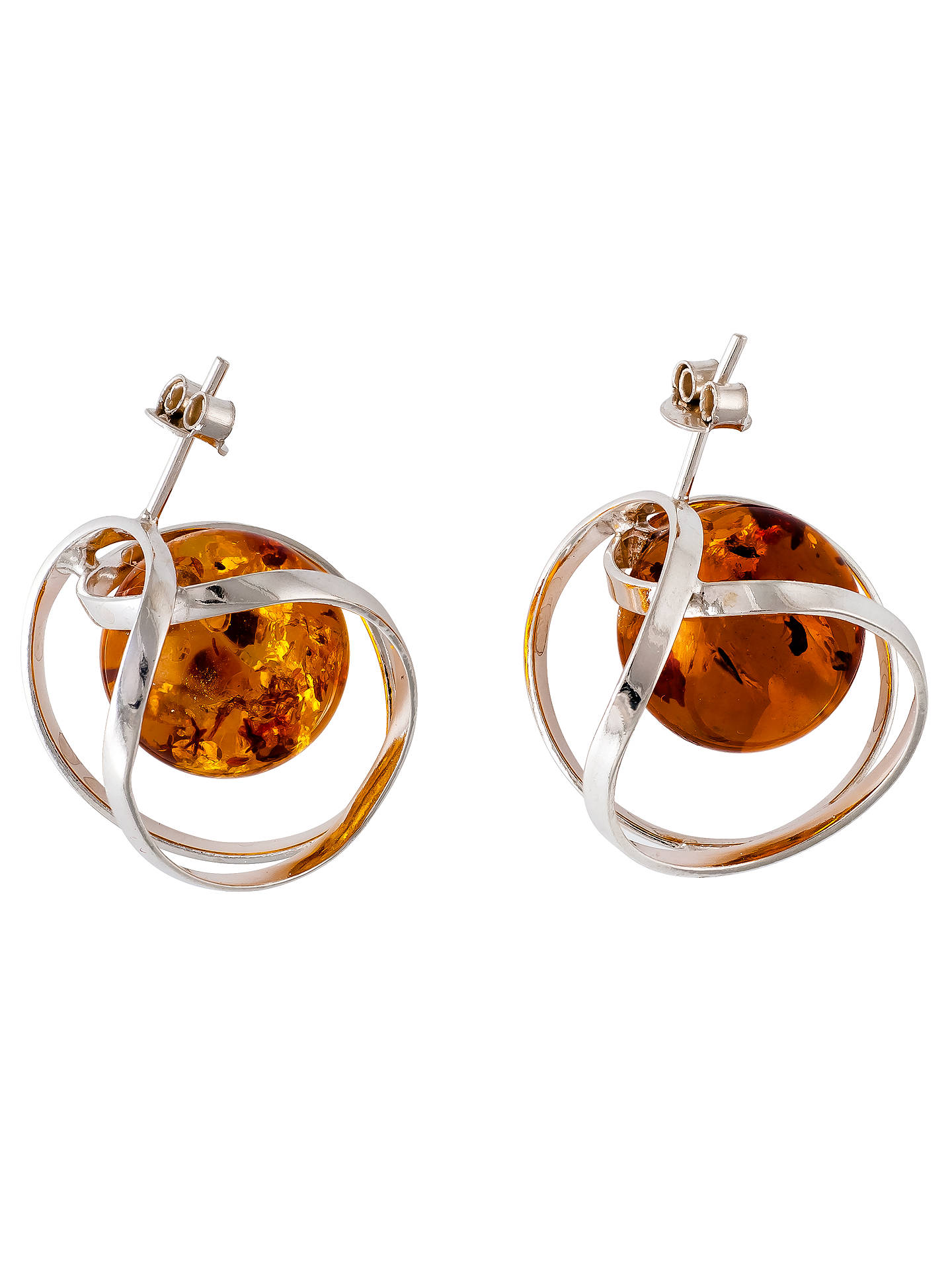 BuyBe-Jewelled Orbital Amber Stud Earrings, Cognac Online at johnlewis.com