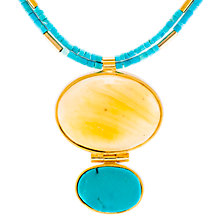 Buy Be-Jewelled Amber and Turquoise Statement Necklace, Blue/Gold Online at johnlewis.com