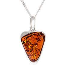 Buy Be-Jewelled Scandi Triangular Amber Pendant Necklace, Cognac Online at johnlewis.com