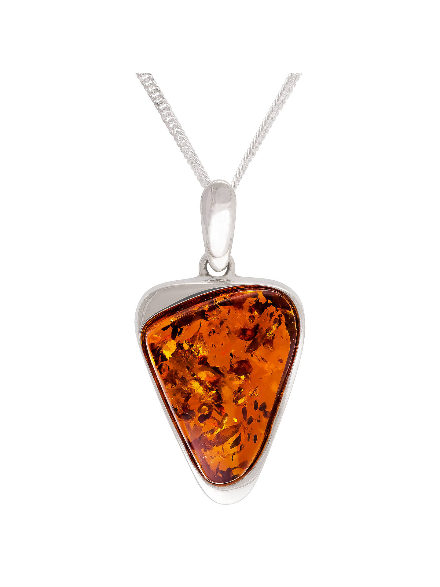 BuyBe-Jewelled Scandi Triangular Amber Pendant Necklace, Cognac Online at johnlewis.com