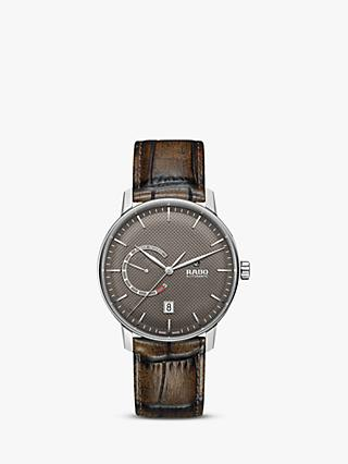 Rado R22878305 Unisex Coupole Automatic Date Leather Strap Watch, Brown