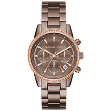 Buy Michael Kors MK6529 Ritz Women's Bracelet Strap Watch, Brown/Rose Gold Online at johnlewis.com