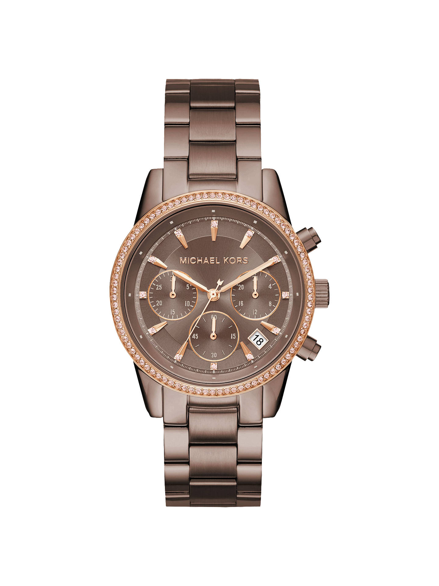 76e1e2bd44db Buy Michael Kors MK6529 Women s Ritz Chronograph Date Bracelet Strap Watch