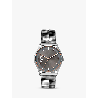 Skagen SKW6396 Women's Holst Day Date Mesh Bracelet Strap Watch, Silver
