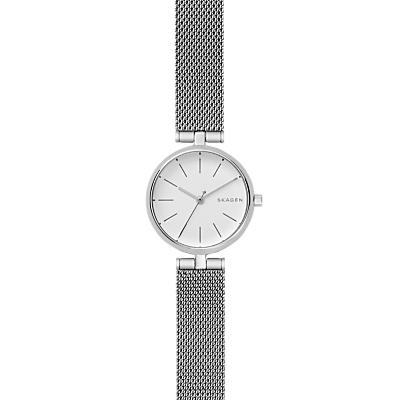 Skagen SKW2642 Women's Signatur Mesh Bracelet Strap Watch, Silver/White
