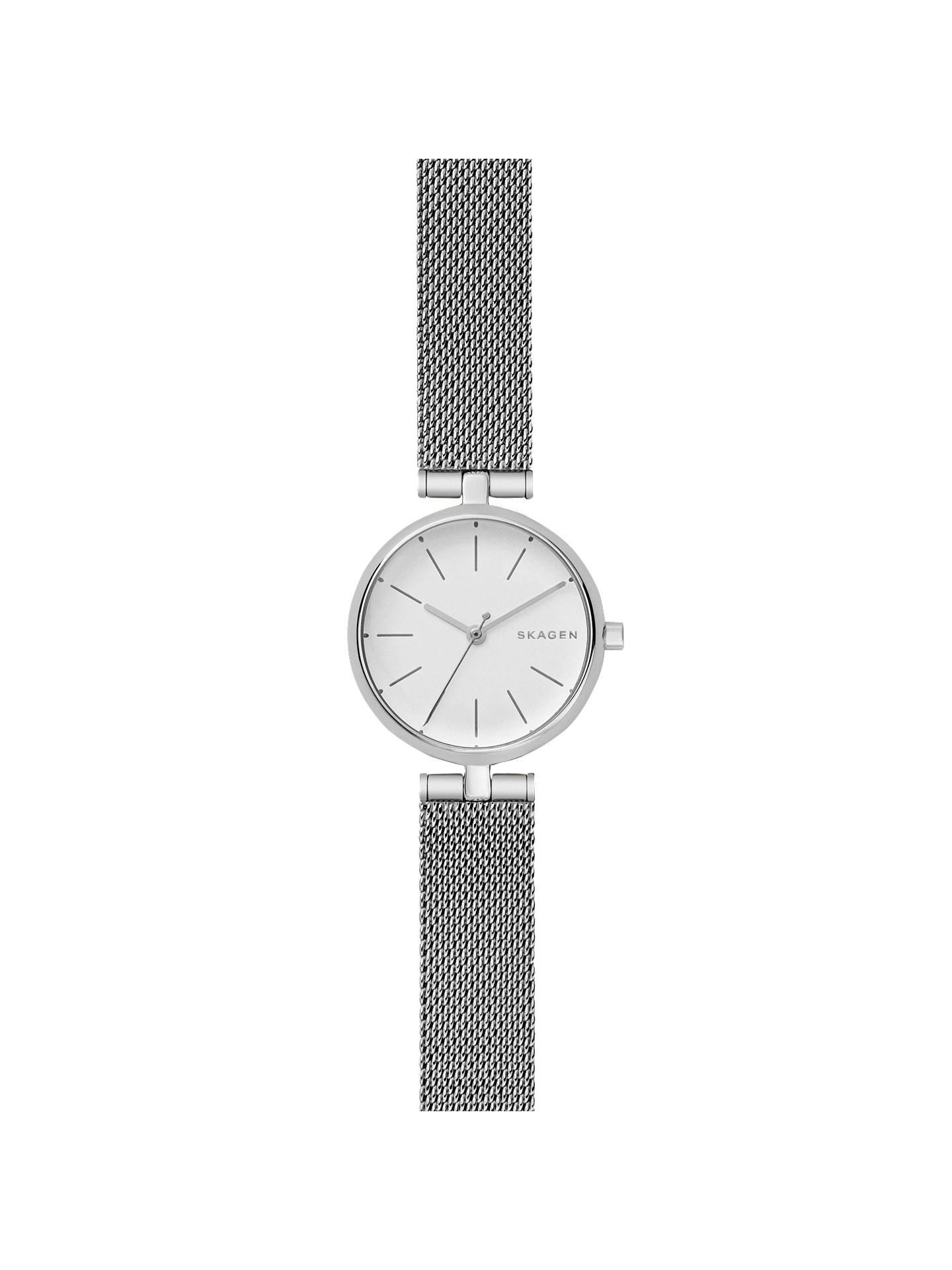 702bd2493 Buy Skagen SKW2642 Women's Signatur Mesh Bracelet Strap Watch, Silver/White  Online at johnlewis ...