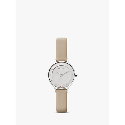 Skagen SKW2648 Women's Anita Leather Strap Watch, Nude/White
